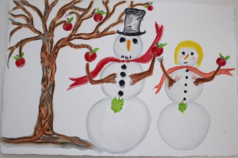 Draw Snow Man Woman 16