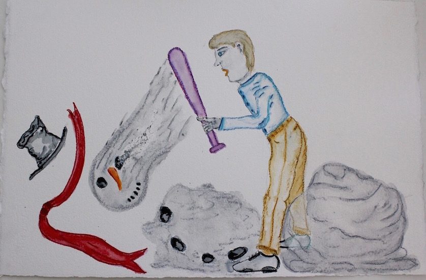 Draw Snowman Hit by Bat 16