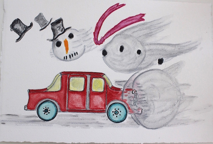 Draw Snowman Hit by Car 16