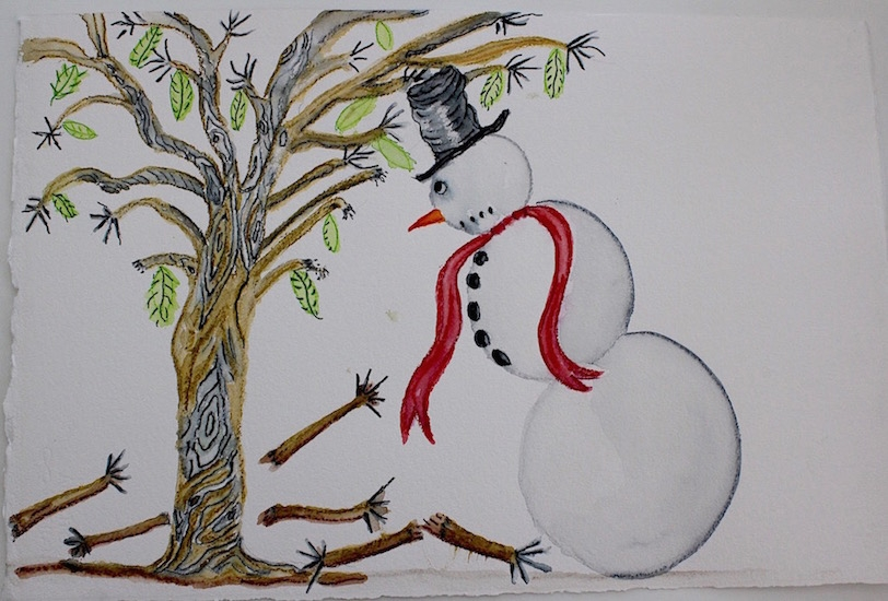 Draw Snowman Lost his Arms 16